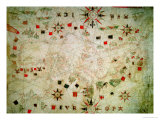 Miniature Nautical Map of the Mediterranean, 1584 Giclee Print by Bartolomeo Olives