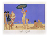 At the Lido, Engraved by Henri Reidel, 1920 (Litho) Giclee Print by Georges Barbier