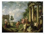 Peasants Amongst Roman Ruins, 1743 Reproduction giclée Premium par Giovanni Paolo Pannini