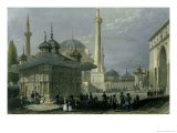 Fountain and Square of St. Sophia Istanbul Giclee Print by William Henry Bartlett