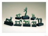Collection of Greek Bronze Animals Including a Boar, a Griffin and a Running Deer Giclee Print
