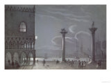 Nocturnal Scene of Palazzo Ducale and the Two Columns Venice Giclee Print by Berselli