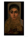 Portrait of a Woman Wearing a Gold Pectoral, Tomb Decoration, from Fayum, 120-130 AD Giclee Print by Roman Period Egyptian
