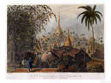 View of the Great Dagon Pagoda and Adjacent Scenery Taken on the Eastern Road from Rangoon Giclee Print by Joseph Moore