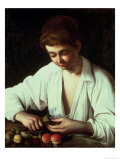A Young Boy Peeling an Apple Giclee Print by  Caravaggio