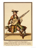 Gentleman Playing the Angelica, Fashion Plate, circa 1695 Giclee Print by Nicolas Bonnart