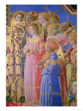 The Coronation of the Virgin, Detail Showing Musical Angels, circa 1430-32 Reproduction procédé giclée par Fra Angelico