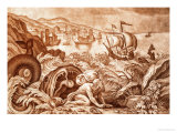 Jonah and the Whale Illustration from a Bible Giclee Print by Mattaus II Merian