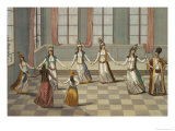 Dance That is Fashionable with the Greek Women of Constantinople Giclee Print by Giacomo Leonardis