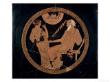 Attic Red-Figure Cup Depicting Phoenix and Briseis, Achilles' Captive, Greek, circa 490 BC Reproduction procédé giclée par Brygos Painter