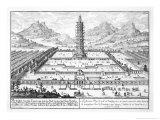 """The Porcelain Tower of Nanking, Plate 12 from """"Entwurf Einer Historischen Architektur"""" Giclee Print by Johann Bernhard Fischer Von Erlach"""