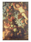 Two Putti Supporting a Flower Garland Giclee Print by F. Von &amp; Courtois Tamm