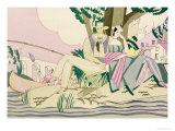 Picnic and Fishing Scene, circa 1920 Giclee-trykk av Charles Martin