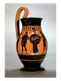 Attic Black-Figure Olpe Depicting Athena Confronting Poseidon, 6th Century BC Giclee Print by  Amasis Painter