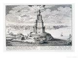 """The Pharos of Alexandria, Plate 9 from """"Entwurf Einer Historischen Architektur"""" Giclee Print by Johann Bernhard Fischer Von Erlach"""
