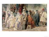 Figures in the Bazaar, Constantinople Giclee Print by Amadeo Preziosi