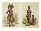 N'Pae a Young Zulu in Gala Dress and Two of King Panda Giclee Print by George French Angas
