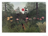 Negro Attacked by a Jaguar, 1910 Giclee Print by Henri Rousseau