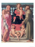 Madonna and Child with Ss. Jerome and Francis Giclee Print by Mirabello Cavalori