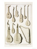 Plate III: Ancient and Modern Stringed and Plucked Instruments Giclee Print by Robert Benard