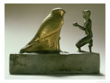 Statue of King Taharqa Worshipping the Falcon-God Hemen, Egyptian, Third Intermediate Period Giclee Print by 25th Dynasty Egyptian