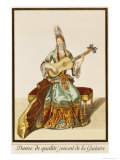 Lady of Quality Playing the Guitar, Fashion Plate, circa 1695 Giclee Print by Nicolas Bonnart