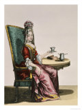 Lady Taking Coffee, Fashion Plate, circa 1695 Giclee Print by Nicolas Bonnart