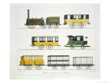 "Coaches Employed on the Railway, Plate 7 from ""Liverpool and Manchester Railway"" Giclee Print by Thomas Talbot Bury"