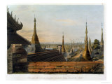 "Scene Upon the Eastern Road from Rangoon Looking Towards the South, Plate 13 from ""Rangoon Views"" Giclee Print by Joseph Moore"