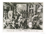 "The Production of Olive Oil, Plate 13 from ""Nova Reperta"" Giclee Print by Jan van der Straet"