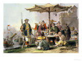"Rice Sellers at the Military Station of Tong-Chang-Too, from ""China in a Series of Views"" Giclee Print by Thomas Allom"