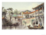 "House of Conseequa, a Chinese Merchant, in the Suburbs of Canton, from ""China in a Series of Views"" Giclee Print by Thomas Allom"