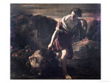David Dragging Goliath's Head Giclée-tryk af Giovanni Lanfranco