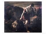 David Dragging Goliath's Head Giclée-tryk af Giovanni Lanfranco
