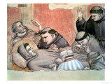 The Death of St. Francis, Detail of St. Francis and the Monks, from the Bardi Chapel Giclee Print by  Giotto di Bondone