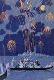 """Fyrverkerier i Venedig, illustration för """"Fetes Galantes"""" av Paul Verlaine 1924 Gicléetryck av Georges Barbier"""