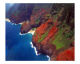 Arial View of Na Pa Li Coast, Kauai, Hawaii Photographic Print by George Oze