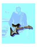 Neon guitar player Giclee Print by Rhonda Watson