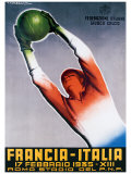 Francia-Italia Football, 1935 Reproduction procédé giclée par T. Corbella
