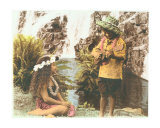 Hawaiian boy and girl at waterfall Lámina fotográfica por  Himani