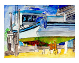 Dry Docked Shrimp Boat Lafitte, Louisiana Giclee Print by Garland  R Oldham