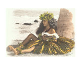 Hawaiian Girl Leaning On Palm Tree, Playing Ukulele Photographic Print by Himani