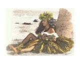 Hawaiian Girl Leaning On Palm Tree, Playing Ukulele Photographic Print by  Himani