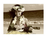 Hawaiian ukulele girl Photographic Print by  Himani