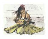 Hawaiian Girl Sitting, Playing Ukulele Photographic Print by  Himani