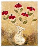 Five Red Flowers Print by Viola Lee