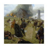 Norse Marauders Wreak Mayhem at Clonmacnoise, Ireland Giclée-tryk af Tom Lovell
