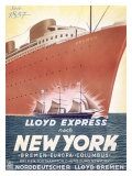 Lloyd Express Line, New York to Bremen Giclée-tryk