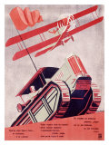 Russian Industrial, Tractor and Biplane Giclee Print