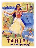 Tahiti Wahine Hula Dance Giclée-tryk